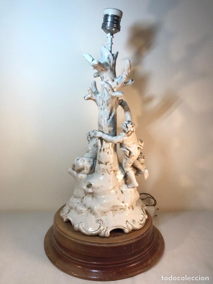 Antigüedades: Lámpara Porcelana- S. Mallol- Figura Árbol- 50 cm - Foto 23 - 167800249