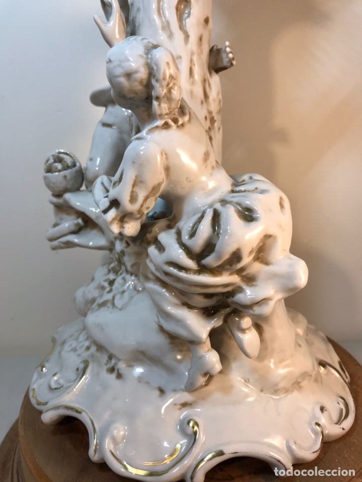 Antigüedades: Lámpara Porcelana- S. Mallol- Figura Árbol- 50 cm - Foto 36 - 167800249