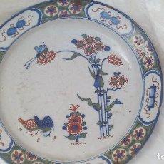 Antigüedades: MAGNIFICO PLATO DE BUEN TAMAÑO EN CERAMICA DE DELFT DE SIGLO XVIII, POLICROMO. Lote 167802396