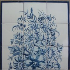 Antigüedades: CESTO CON FLORES AZULES. Lote 167808172
