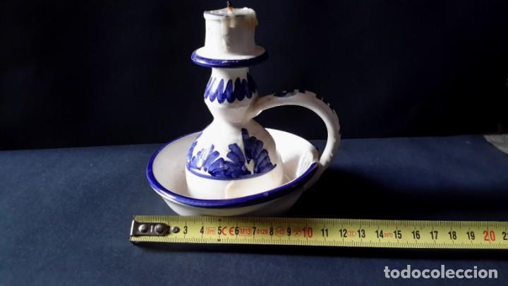 Antigüedades: Antiguo portavelas de ceramica - Foto 3 - 167809728