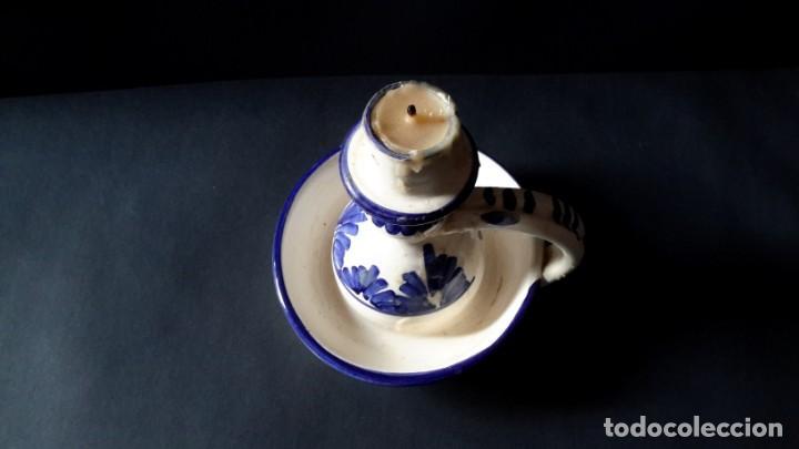 Antigüedades: Antiguo portavelas de ceramica - Foto 5 - 167809728
