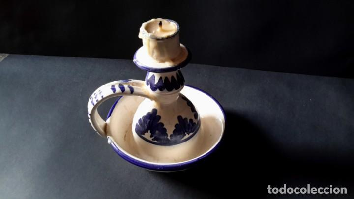 Antigüedades: Antiguo portavelas de ceramica - Foto 6 - 167809728
