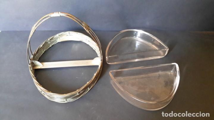 Antigüedades: Antigua cesta (bandeja) de cristal y laton - Foto 6 - 167810032