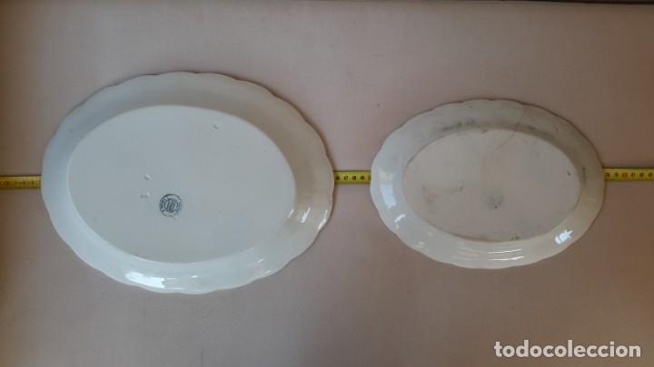 Antigüedades: Juego de 4 fuentes y salsera de porcelana opaca, sevilla. - Foto 10 - 167813276