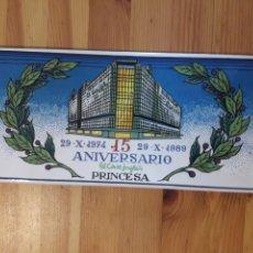 Antigüedades: BALDOSA EL CORTE INGLES AZULEJO ANIVERSARIO PRINCESA MADRID 1974 1989. Lote 167939118