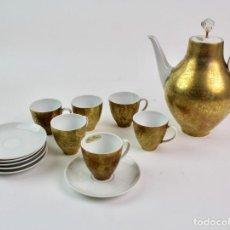 Antigüedades: *JUEGO DE CAFE DE PORCELANA ALEMANA CON ORO FINO. HUTSCHENREUTER. MEDIADOS S.XX.. Lote 167940636