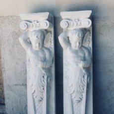 Antigüedades: PAREJA PILASTRAS MENSULAS ELEMENTOS DECORATIVOS FIBRA VIDRIO SIMULA PIEDRA DECORACION BAJO TECHO 130. Lote 167959188