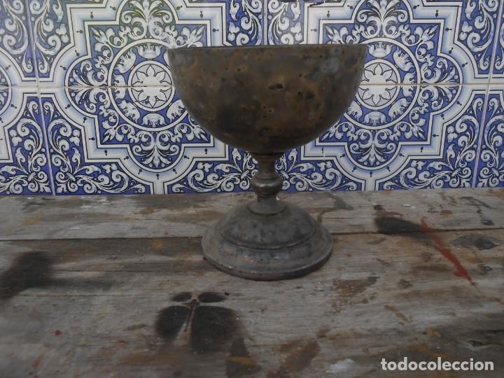 CALIZ PLATEADO ANTIGUO (Antigüedades - Religiosas - Ornamentos Antiguos)