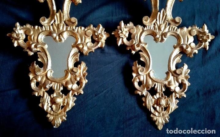 Antigüedades: Pareja de Cornucopias Espejos Siglo XIX. Madera tallada Pan de Oro - Foto 3 - 167967957