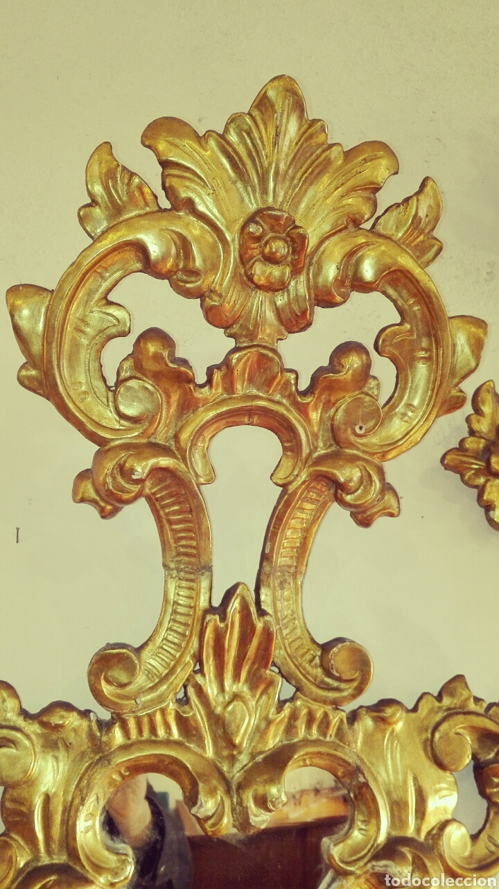 Antigüedades: Pareja de Cornucopias Espejos Siglo XIX. Madera tallada Pan de Oro - Foto 7 - 167967957