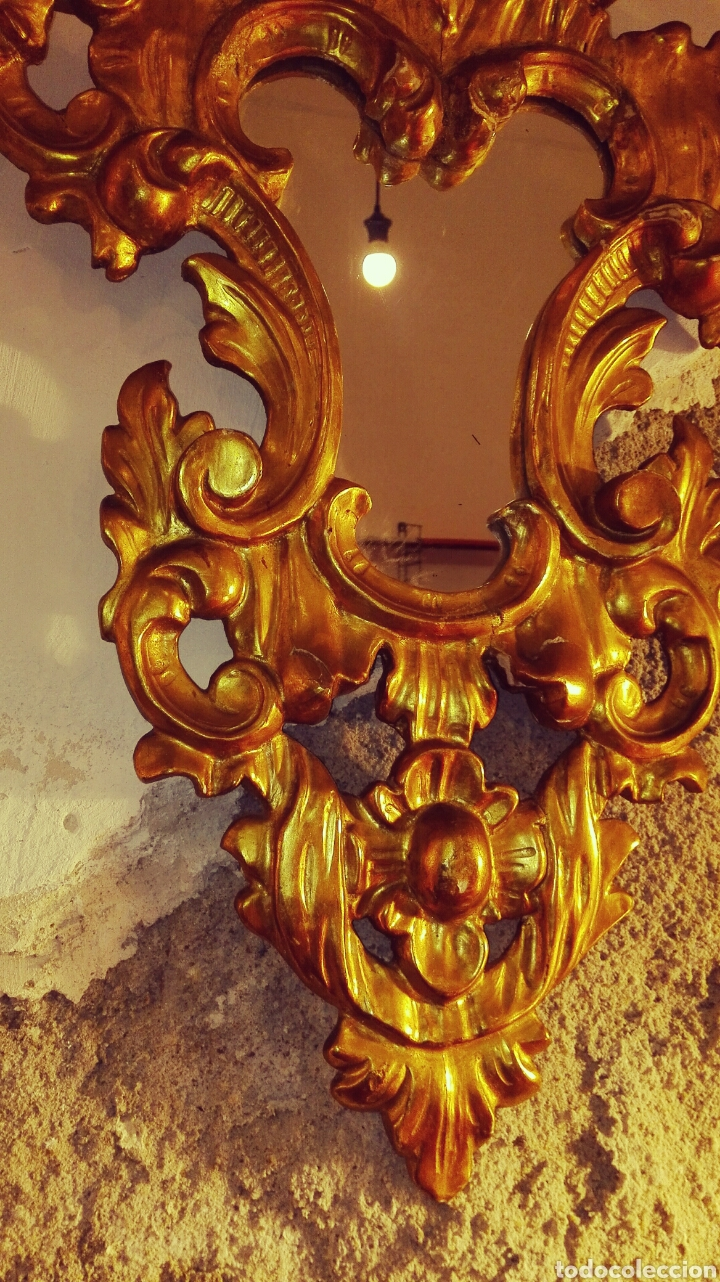 Antigüedades: Pareja de Cornucopias Espejos Siglo XIX. Madera tallada Pan de Oro - Foto 9 - 167967957