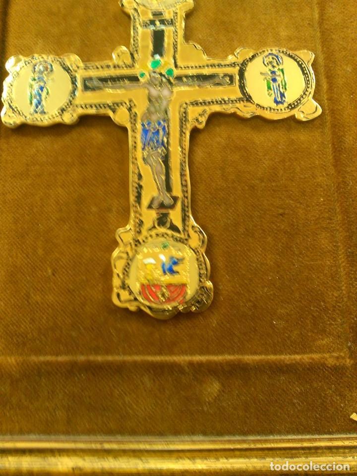 Antigüedades: Cruz de bronce con esmaltes -- TAMAÑO MARCO 28X24 - Foto 2 - 167974608