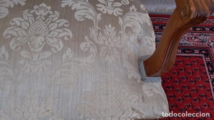 Antigüedades: Silla de rejilla antigua estilo Luis XV. Sillón antiguo. Silla descalzadora antigua vintage. - Foto 7 - 167980792