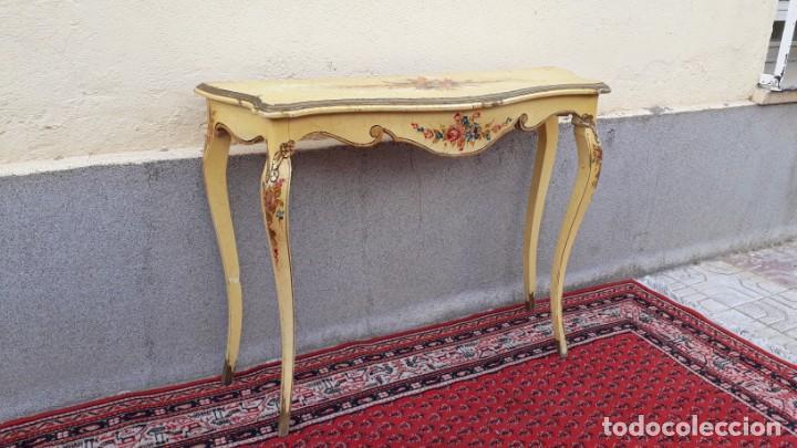 Antigüedades: Consola antigua policromada flores. Consola antigua estilo Luis XV isabelino. Mueble vintage. - Foto 6 - 167981692