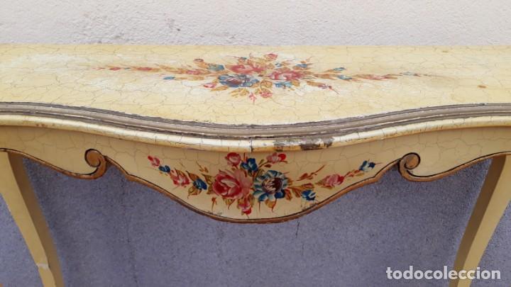 Antigüedades: Consola antigua policromada flores. Consola antigua estilo Luis XV isabelino. Mueble vintage. - Foto 8 - 167981692