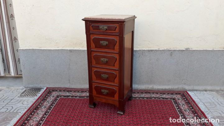 Antigüedades: Mueble sinfonier antiguo estilo modernista. Cómoda alta cajonera antigua vintage. - Foto 9 - 167999348