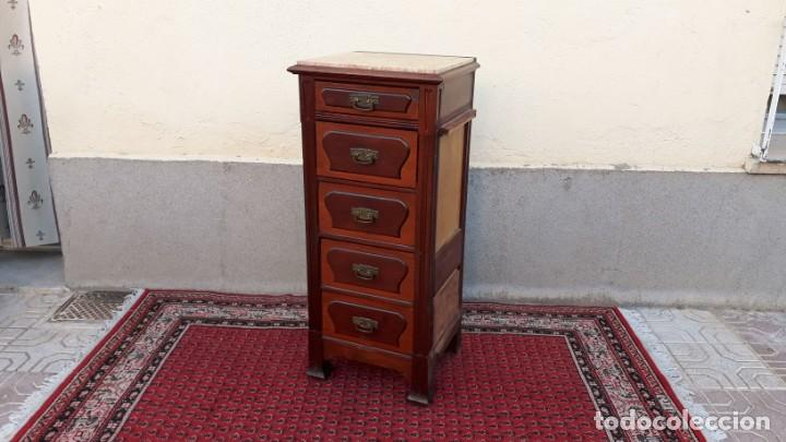 Antigüedades: Mueble sinfonier antiguo estilo modernista. Cómoda alta cajonera antigua vintage. - Foto 17 - 167999348