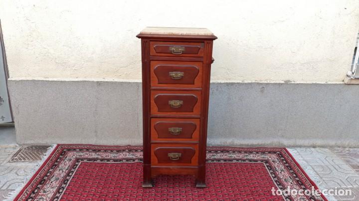 Antigüedades: Mueble sinfonier antiguo estilo modernista. Cómoda alta cajonera antigua vintage. - Foto 18 - 167999348