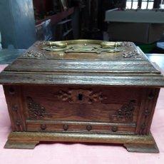 Antigüedades: CAJA DE ROBLE Y LATÓN. Lote 168026997