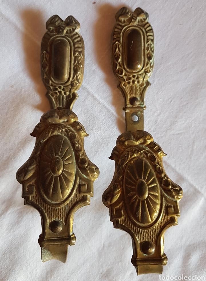 ANTIGUA PAREJA SUJETA CORTINAS BRONCE (Antigüedades - Hogar y Decoración - Cortinas Antiguas)