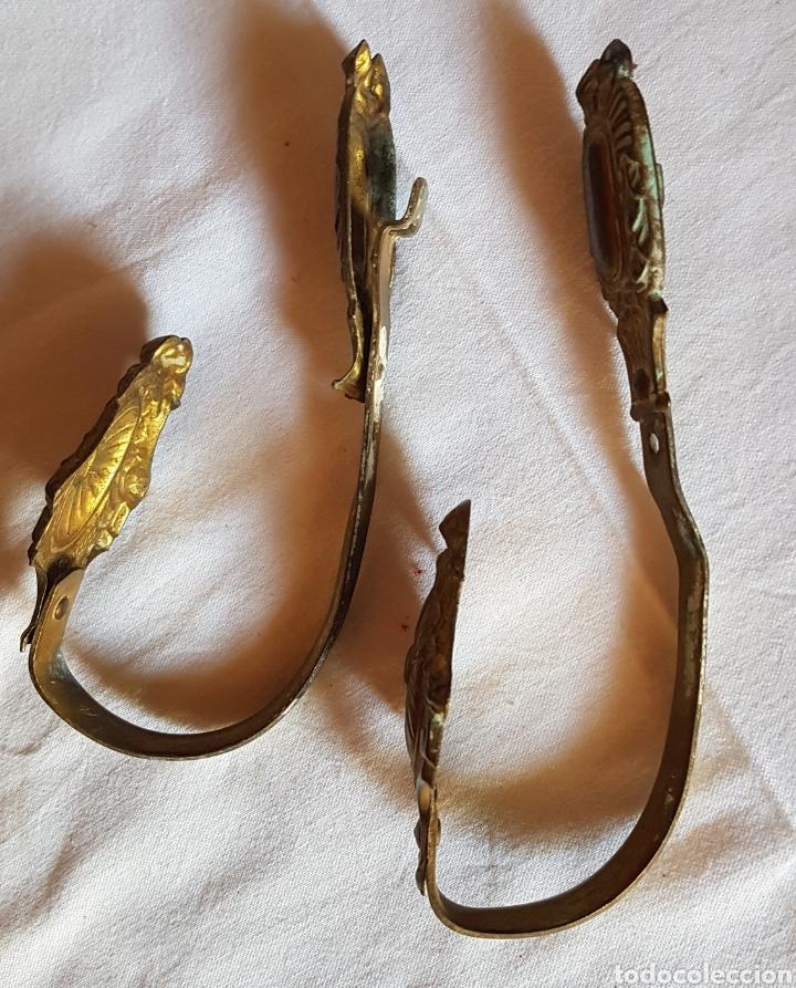 Antigüedades: Antigua pareja sujeta cortinas bronce - Foto 2 - 168080156
