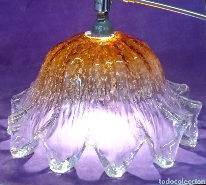 Antigüedades: Gran tulipa de cristal de Murano. Lampara de techo de vidrio prensado, 15cm Alt. X 29cm Diametro - Foto 9 - 168115778