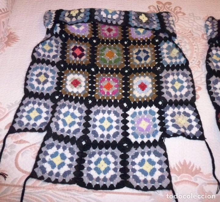 Antigüedades: 2 antiguos cubre sillon de lana realizada a mano - Crochet. - Foto 6 - 168121904