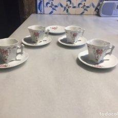 Antigüedades: ANTIGUO JUEGO DE CAFÉ ISABELINO EN PORCELANA BLANCA CON BONITO DIBUJO FLORAL SIGLO XIX. Lote 168125576