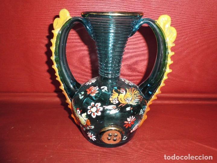 MAGNIFICO ANTIGUO JARRON CRISTAL SOPLADO PINTADO A MANO,TIPO CIRERA DE LOS AÑOS 30 (Antigüedades - Cristal y Vidrio - Catalán)