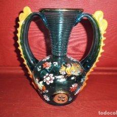 Antigüedades: MAGNIFICO ANTIGUO JARRON CRISTAL SOPLADO PINTADO A MANO,TIPO CIRERA DE LOS AÑOS 30. Lote 168139321