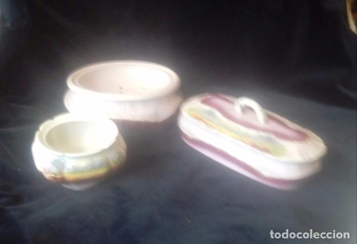 Antigüedades: Juego de aguamanil antiguo en porcelana de Limoges - Foto 5 - 168171480