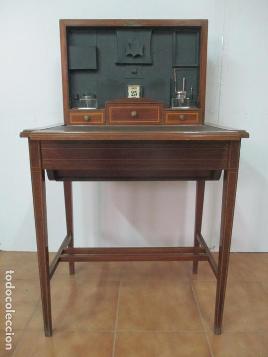 Antigüedades: Curiosa Mesa de Despacho - Art Deco - Escribanía Camuflada - Madera de Caoba - Años 20-30 - Foto 3 - 168188884
