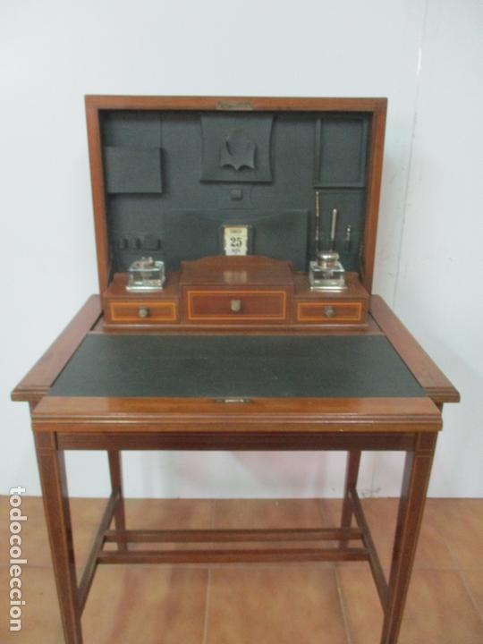 Antigüedades: Curiosa Mesa de Despacho - Art Deco - Escribanía Camuflada - Madera de Caoba - Años 20-30 - Foto 4 - 168188884