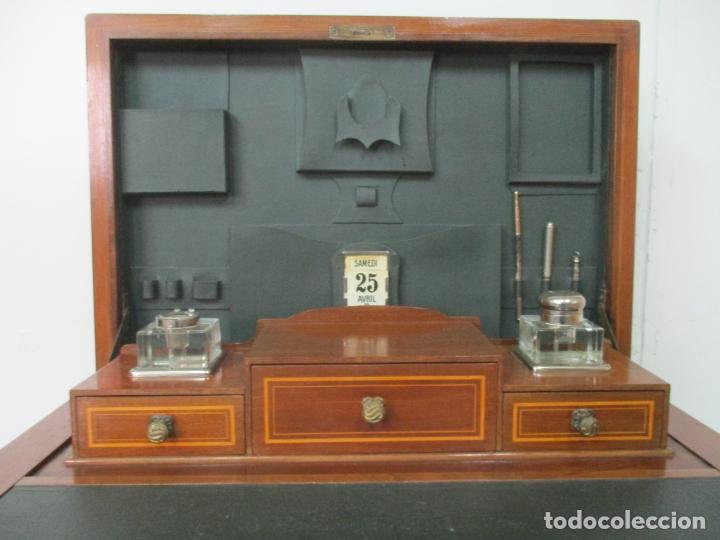 Antigüedades: Curiosa Mesa de Despacho - Art Deco - Escribanía Camuflada - Madera de Caoba - Años 20-30 - Foto 5 - 168188884