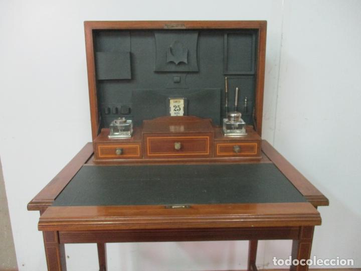 Antigüedades: Curiosa Mesa de Despacho - Art Deco - Escribanía Camuflada - Madera de Caoba - Años 20-30 - Foto 13 - 168188884