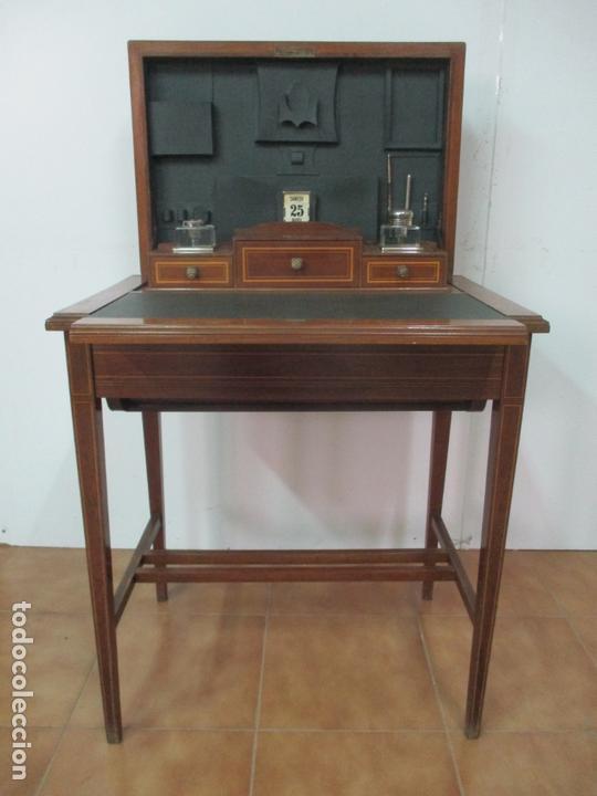 Antigüedades: Curiosa Mesa de Despacho - Art Deco - Escribanía Camuflada - Madera de Caoba - Años 20-30 - Foto 17 - 168188884