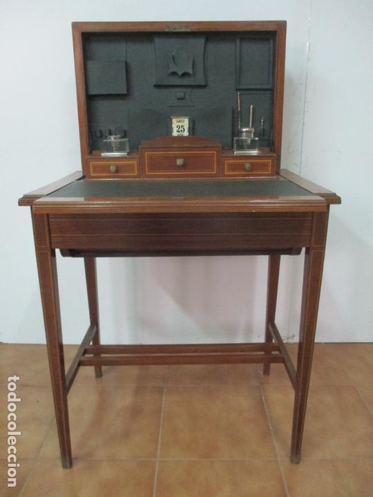 Antigüedades: Curiosa Mesa de Despacho - Art Deco - Escribanía Camuflada - Madera de Caoba - Años 20-30 - Foto 29 - 168188884