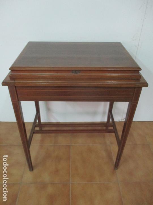 Antigüedades: Curiosa Mesa de Despacho - Art Deco - Escribanía Camuflada - Madera de Caoba - Años 20-30 - Foto 32 - 168188884