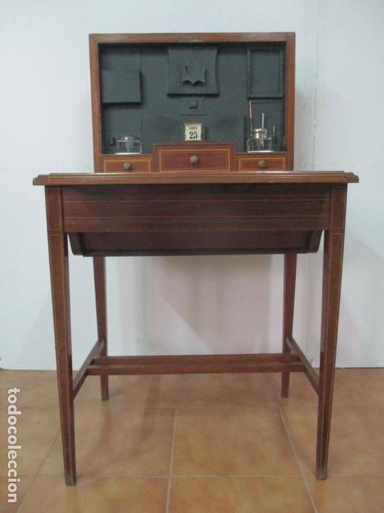 Antigüedades: Curiosa Mesa de Despacho - Art Deco - Escribanía Camuflada - Madera de Caoba - Años 20-30 - Foto 42 - 168188884