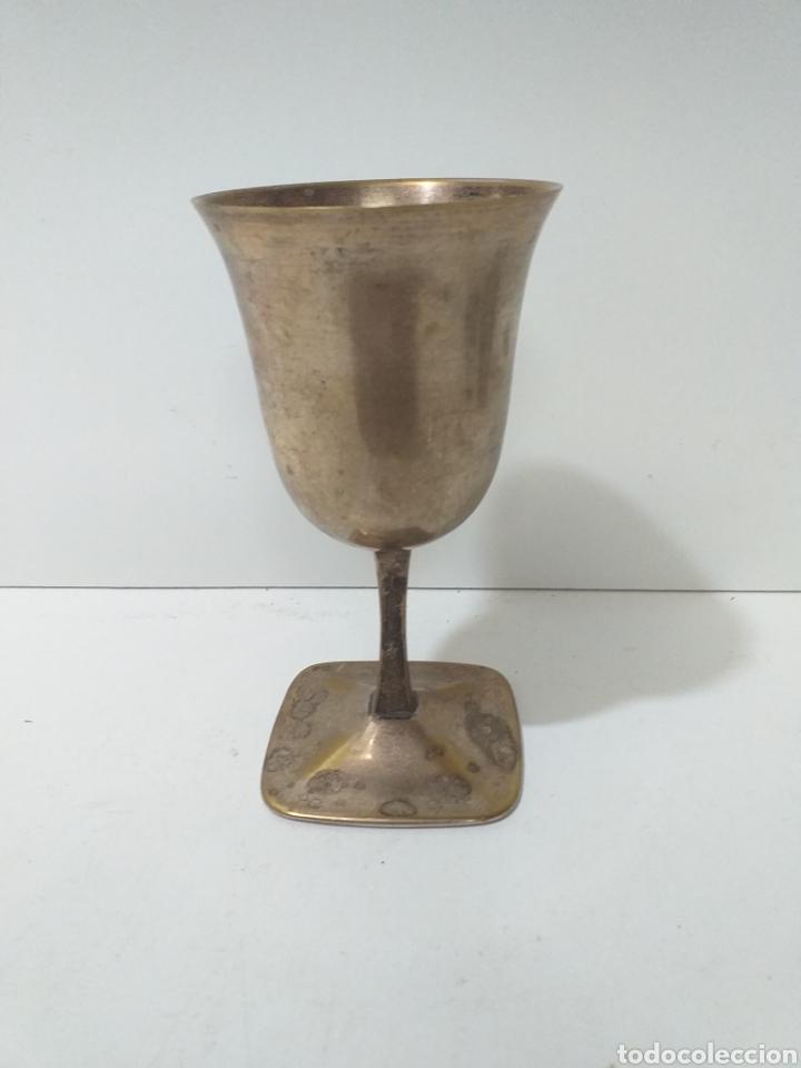 BONITA Y ANTIGUA COPA O CÁLIZ DE BRONCE. (Antigüedades - Religiosas - Artículos Religiosos para Liturgias Antiguas)