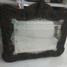 Antigüedades: MAGNIFICA PLACA PLATA Y MADERA ACTA PUBLICA RECONOCIMIENTO OBISPO SEGOVIA 1919 REMIGIO GANDÁSEGUI. Lote 168200454