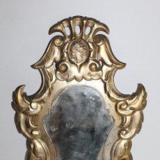 Antigüedades: ESPEJO CORNUCOPIA EN CARTÓN DORADO PUBLICIDAD ALMACENES EL INDIO C/ CARMEN, 24 BARCELONA. Lote 168231284
