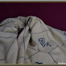 Antigüedades: COLCHA O MANTEL DE LIENZO ANTIGUO, LABOR SIN ACABAR. Lote 168237312