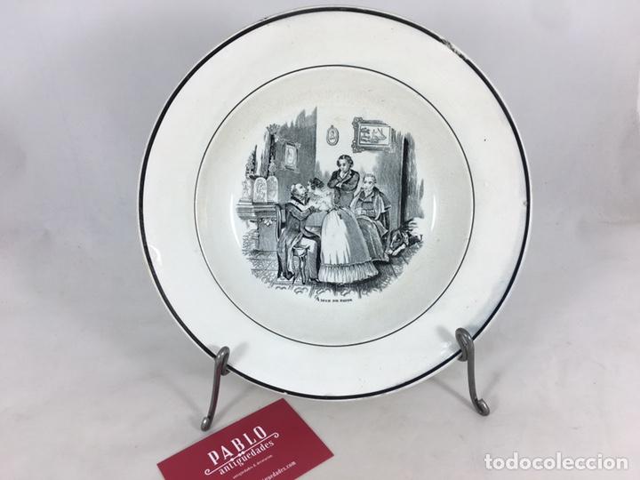 AMOR DE PADRE - PLATO ANTIGUO DE CERÁMICA DE VALARINO CARTAGENA (Antigüedades - Porcelanas y Cerámicas - Cartagena)