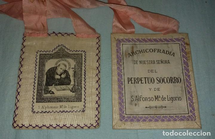 Antigüedades: ANTIGUO ESCAPULARIO ARCHICOFRADIA NUESTRA SEÑORA DEL PERPETUO SOCORRO Y DE S. ALFONSO Mª DE LIGORIO - Foto 3 - 168274408
