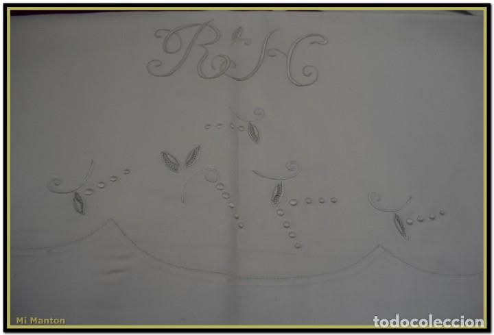 Antigüedades: Juego sabana y almohada bordada algodón tolrá - Foto 3 - 168299456