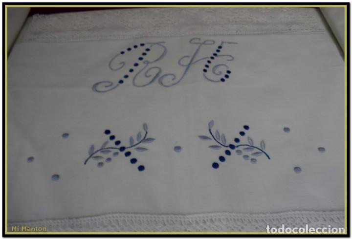 JUEGO SABANA Y ALMOHADA BORDADA ALGODÓN TOLRÁ (Antigüedades - Hogar y Decoración - Sábanas Antiguas)