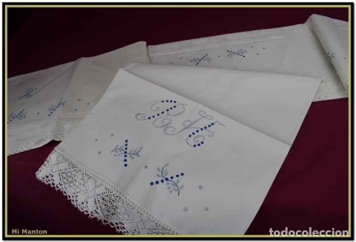 Antigüedades: Juego sabana y almohada bordada algodón Tolrá - Foto 2 - 168299864
