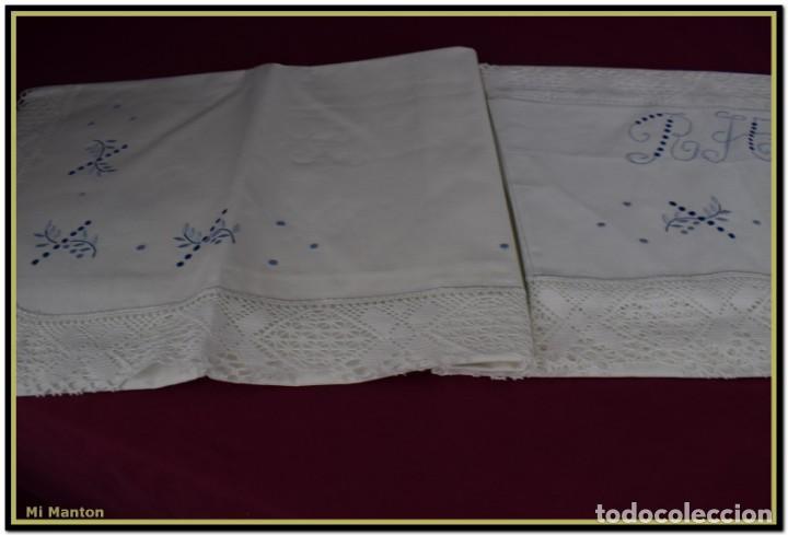 Antigüedades: Juego sabana y almohada bordada algodón Tolrá - Foto 4 - 168299864